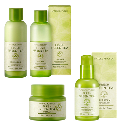 Nature Republic Fresh Green Tea 70 Toner+70 Emulsion+Seed Serum+80 Cream set