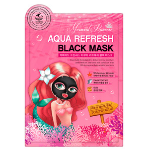 TOSOWOONG Mermaid Princess Aqua Refresh Black Mask 10sheets