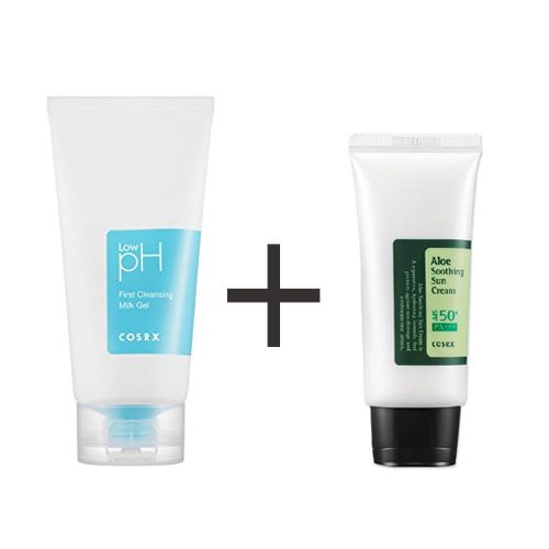 COSRX Low pH First Cleansing Milk Gel 150ml +  COSRX ALOE SOOTHING SUN CREAM SPF50 PA+++ 50ml