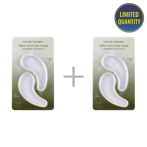 [1+1] NATURE REPUBLIC Snail Solution 10,000 Hydrogel Eye Patch 1pcs (4.5g x 2)