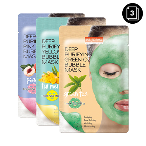 PUREDERM Deep Purifying O2 Bubble Mask 3ea
